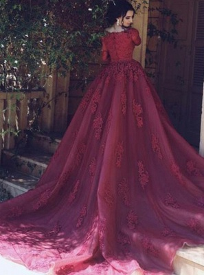 Wine red evening dresses me sleeves lace a line prom dresses cheap_2