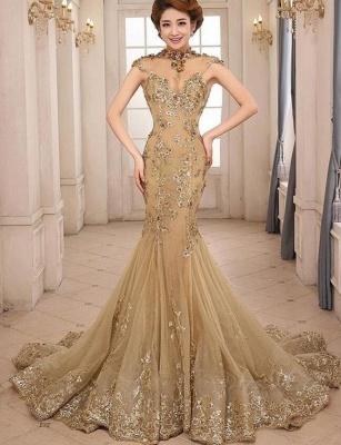 Günstig Abendkleider Gold Glitter | Lange Abiballkleider Spitze Kaufen_1
