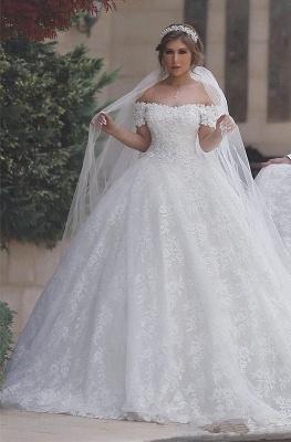 Luxury Wedding Dresses White Lace Princess Wedding Dresses With Train Cheap_1