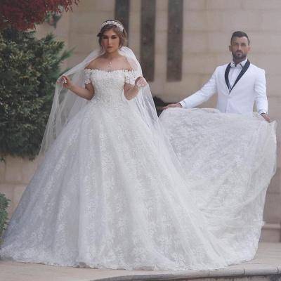 Luxury Wedding Dresses White Lace Princess Wedding Dresses With Train Cheap_2