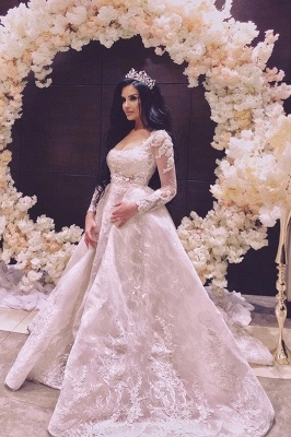 Elegant A Line Wedding Dresses With Sleeves | Wedding dresses with lace online_1