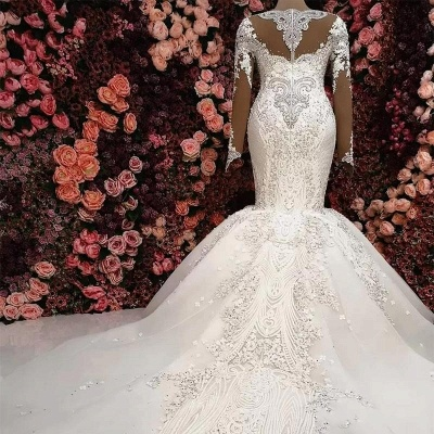 Luxury wedding dress with sleeves lace wedding dresses online_2