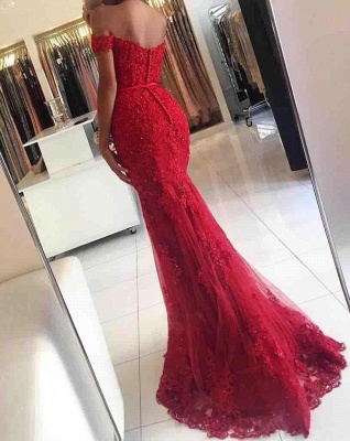 Red Evening Dresses Long Cheap Lace Off Shoulder Mermaid Evening Wear_2