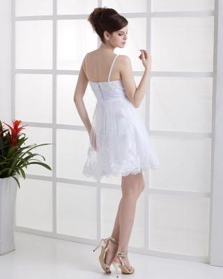 Schöne Weiß Hochzeitskleider Kurz Mit spitze Spaghetti Tüll Brautkleider Hochzeitsmoden_5