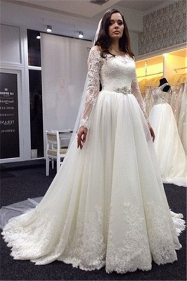 Simple wedding dresses with sleeves a line wedding dresses lace cheap_1