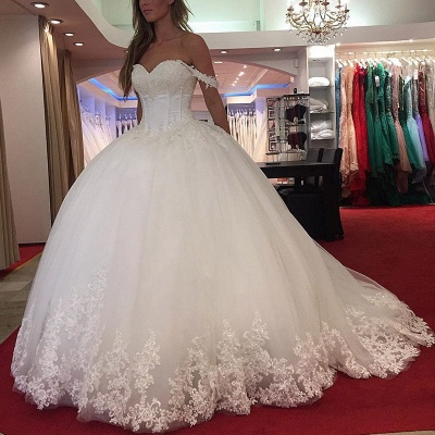 Princess White Wedding Dresses With Lace Off Shoulder Tulle Dresses For Wedding_2