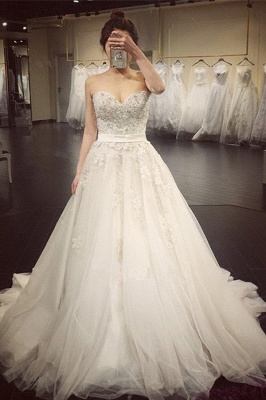 Sexy white wedding dresses with lace heart a line bridal wedding gowns cheap online_1