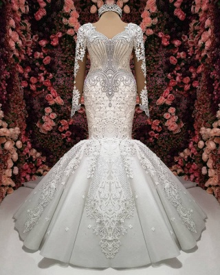 Luxury wedding dress with sleeves lace wedding dresses online_1