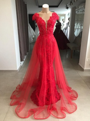 Elegant evening dresses long red lace | Buy cheap party dresses_1