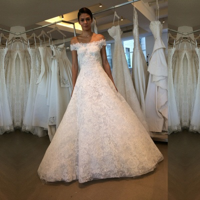 Order elegant wedding dresses white with lace off shoulder wedding dresses online_2