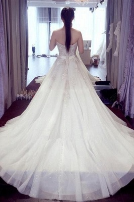 Sexy white wedding dresses with lace heart a line bridal wedding gowns cheap online_2