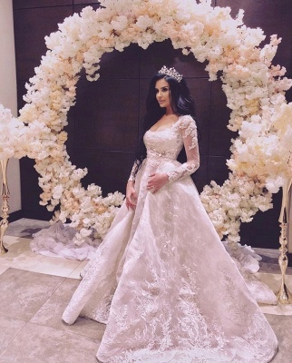 Elegant A Line Wedding Dresses With Sleeves | Wedding dresses with lace online_4