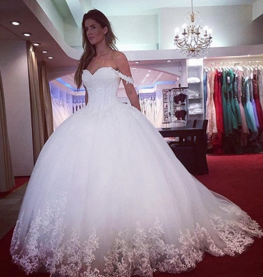 Princess White Wedding Dresses With Lace Off Shoulder Tulle Dresses For Wedding_3