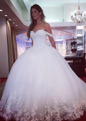 Princess White Wedding Dresses With Lace Off Shoulder Tulle Dresses For Wedding_1