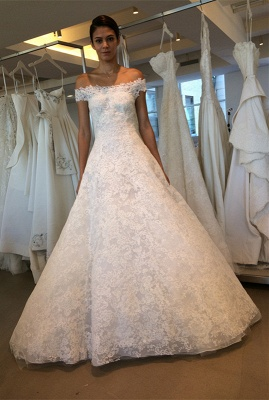 Order elegant wedding dresses white with lace off shoulder wedding dresses online_1