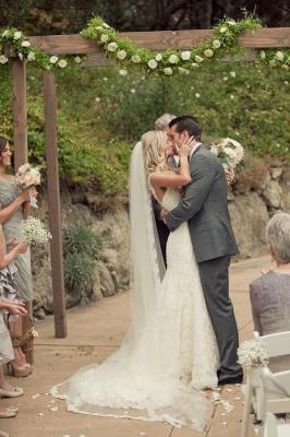 Elfenbein Brautkleider Spitze Meerjungfrau Herz Träger Brautmoden Hochzeitskleider_3