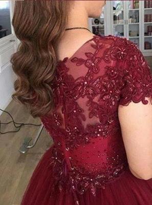 Modern Prinzessin Brautkleider Weinrot | Spitze Hochzeitskleider Günstig Online_2