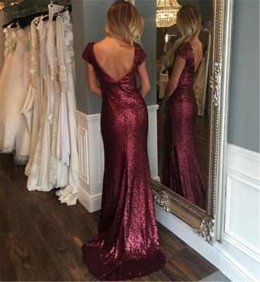 Wine red evening dresses with sleeves sequins sheath dresses prom dresses cheap_2