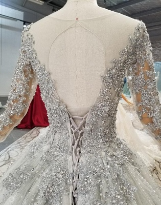 Fashion Silver Wedding Dresses With Sleeves Lace Wedding Dresses A Line Online_5