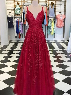 Abendkleider Lang Rot Spitze | Abendmode Günstig Online Kaufen_1