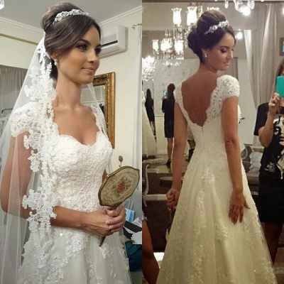 Cheap A Line Wedding Dresses With Lace Straps Order Wedding Dresses Online_2