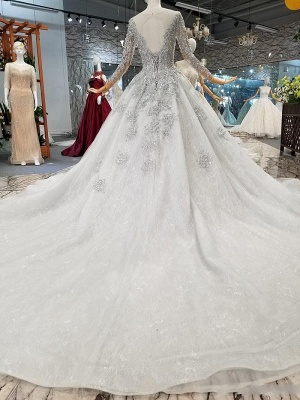 Fashion Silver Wedding Dresses With Sleeves Lace Wedding Dresses A Line Online_3