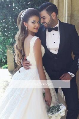 Weiße Brautkleider Mit Spitze Prinzessin Satin Hochzeitskleider Brautmoden_1
