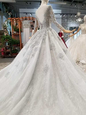 Fashion Silver Wedding Dresses With Sleeves Lace Wedding Dresses A Line Online_2