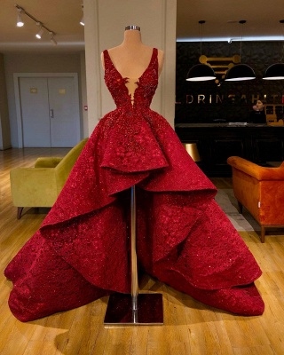 Luxury red lace cocktail dresses | Evening dresses short in front long behind_1