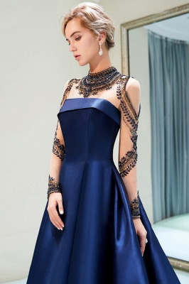 Fashion Evening Dress Blue Long Beaded A Line Evening Dresses Evening Wear Online_5