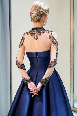 Fashion Evening Dress Blue Long Beaded A Line Evening Dresses Evening Wear Online_6