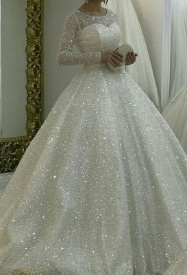 Elegant wedding dresses with glitter | A line wedding dress with sleeves_1