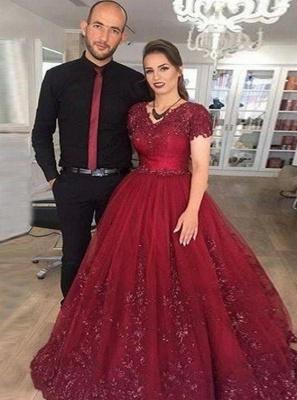 Modern Prinzessin Brautkleider Weinrot | Spitze Hochzeitskleider Günstig Online_1