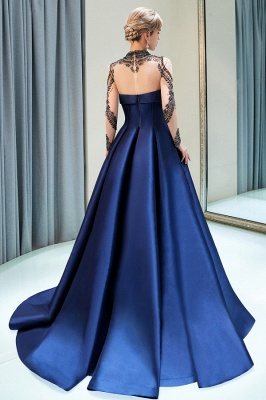 Fashion Evening Dress Blue Long Beaded A Line Evening Dresses Evening Wear Online_4