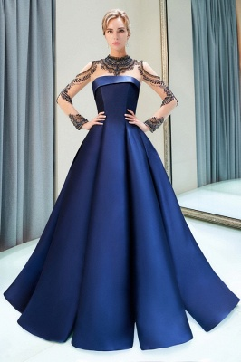 Fashion Evening Dress Blue Long Beaded A Line Evening Dresses Evening Wear Online_3