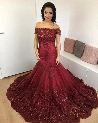 Wine Red Evening Dresses Lace Cheap Mermaid Evening Wear Prom Dresses_1