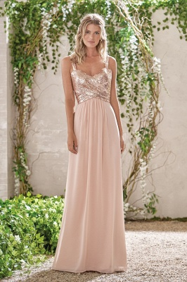 Elegant Bridesmaid Dresses Apricot Long Chiffon Dresses Bridesmaids Online_1
