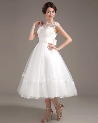 Elegant Short Wedding Dresses With Pointed A Line Organza Tea-length Wedding Dress Wedding Fashions_3
