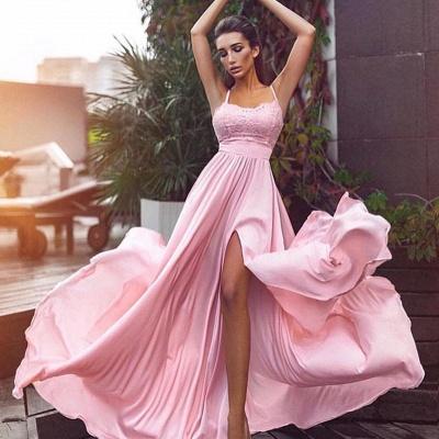Elegante Rosa Abendkleider Lang Günstig Mit Spitze Etuikleider Abiballkleider_2