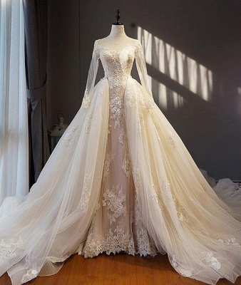 Designer a line wedding dresses with sleeves lace wedding gowns cheap online_1