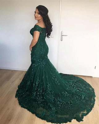 Wine Red Evening Dresses Lace Cheap Mermaid Evening Wear Prom Dresses_3