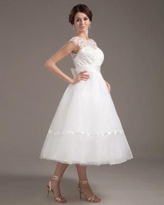 Elegant Short Wedding Dresses With Pointed A Line Organza Tea-length Wedding Dress Wedding Fashions_4
