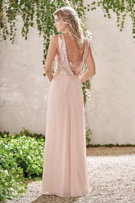 Elegant Bridesmaid Dresses Apricot Long Chiffon Dresses Bridesmaids Online_2