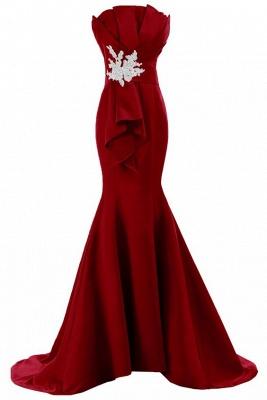 Rotes Abendkleider Lang Meerjungfrau Trägerlos Satin Abiballkleider Online_2