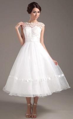 Elegant Short Wedding Dresses With Pointed A Line Organza Tea-length Wedding Dress Wedding Fashions_1