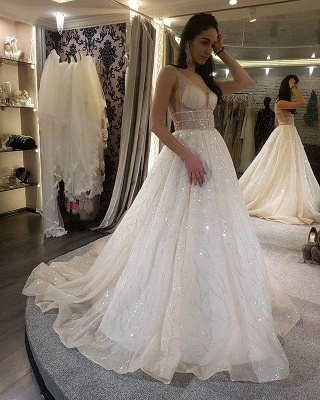 Modern wedding dresses with glitter | Wedding Dress A Line Online_1