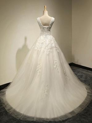 Elegante Weiße Spitze Hochzeitskleider A Line Brautkleider Günstig Online_3