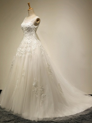 Elegante Weiße Spitze Hochzeitskleider A Line Brautkleider Günstig Online_2