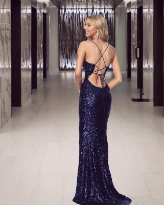 Navy Blue Prom Dresses Long Glitter | Evening wear cheap online_2