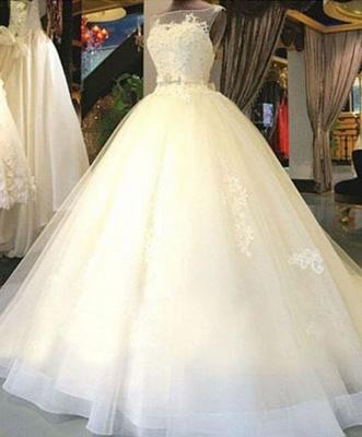 Exklusive Brautkleider Weiß Mit Spitze Prinzessin Organza Brautmoden Hochzeitskleider_1